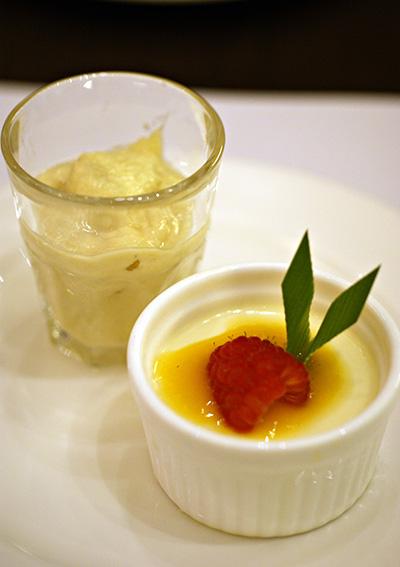 Durian pengat & creme brulee