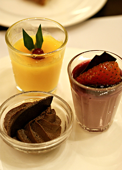 Mango pudding, raspberry mousse, chocolate mousse