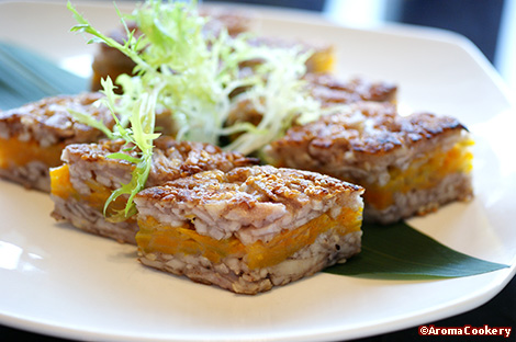 Deep-fried crispy yam patties layered with mashed golden pumpkin