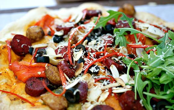 Chorizo Almond Skinny Pizza, S$18.00.