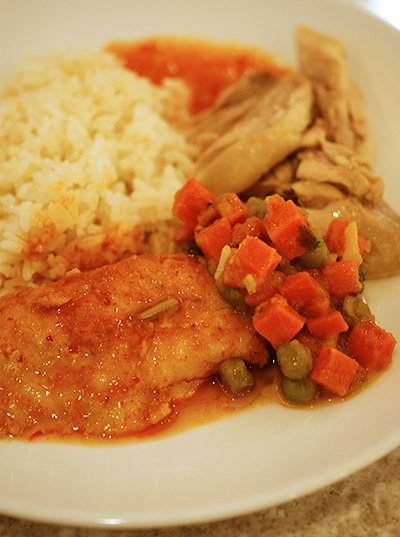 Chicken rice, spiced pea & carrot, and chilli-tomato Dory fish