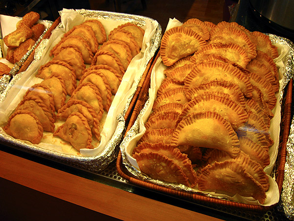 Egg curry puff (left basket) & sardine puff (right basket)