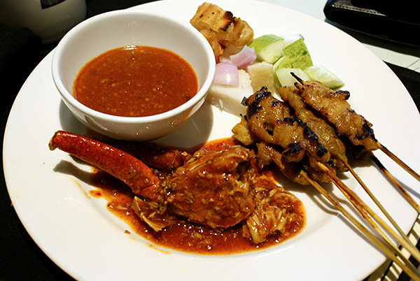 Chilli crab and chicken satay