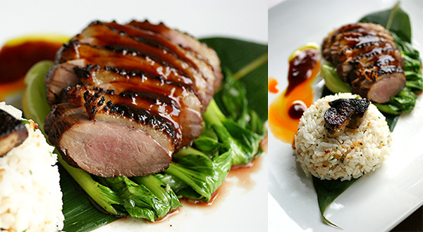 Duck breast with garlic rice